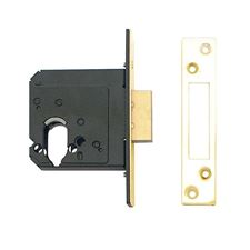 Picture of 76mm WKS Mortice Dual Profile Dead Lockcase with 57mm Backset - Polished Brass