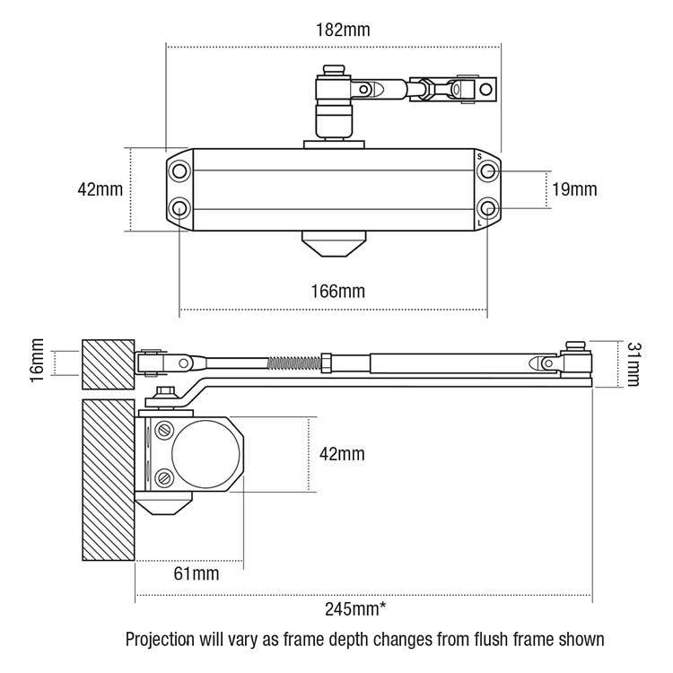 union ce3f rack pinion door closer keyprint security ltd. Black Bedroom Furniture Sets. Home Design Ideas