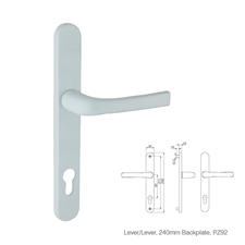 Picture of Replacement Lever/Lever Door Handles, 240mm Backplate - 92mm PZ